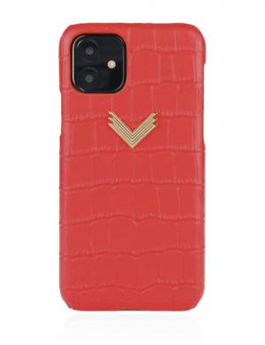 Husa iPhone 11 PIELE EMBOSATA CROCO Irresistible Red
