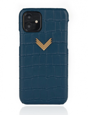 Husa iPhone 11 PIELE EMBOSATA CROCO Deep Ultramarine