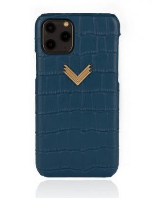 Husa iPhone 11 Pro piele embosata croco Deep Ultramarine