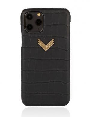 Husa iPhone 11 Pro Max piele embosata croco Mistery Black