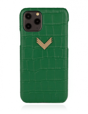 Husa iPhone 11 Pro Max piele embosata croco Precious Green