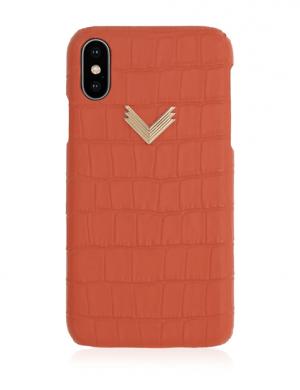 Husa iPhone XS Piele Embosata Croco Enjoy Coral