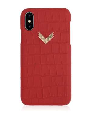 Husa iPhone XS Piele Embosata Croco Irresistible Red
