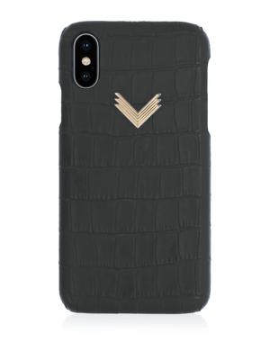 Husa iPhone XS Piele Embosata Croco Mistery Black