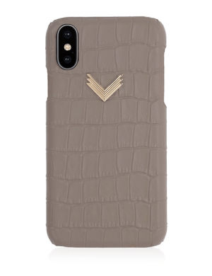Husa iPhone XS Piele Embosata Croco Shades Of Gray