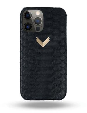 Husa Telefon iPhone 12 Pro Max Piele Piton Mystery Black