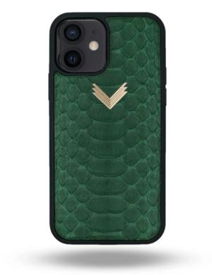 Husa iPhone 12 PIELE PITON Dark Green