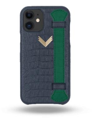Husa iPhone 11 Piele Embosata Aligator Strap DEEP ULTRAMARINE-GREEN