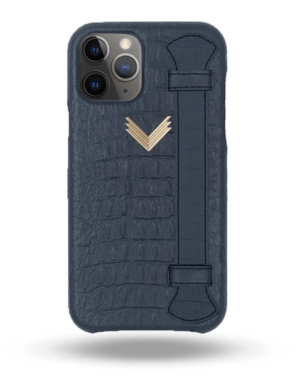 Husa iPhone 11 Pro Max Piele Embosata Aligator Strap DEEP ULTRAMARINE