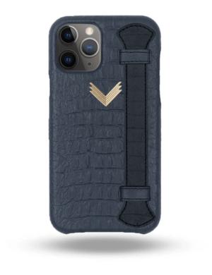Husa iPhone 11 Pro Max Piele Embosata Aligator Strap DEEP ULTRAMARINE-BLACK