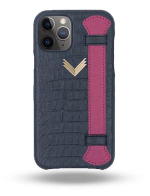 Husa iPhone 11 Pro Max Piele Embosata Aligator Strap DEEP ULTRAMARINE-FUCHSIA