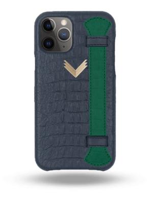 Husa iPhone 11 Pro Max Piele Embosata Aligator Strap DEEP ULTRAMARINE-GREEN