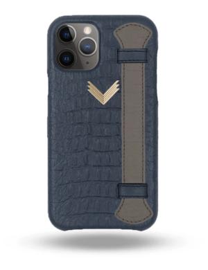 Husa iPhone 11 Pro Max Piele Embosata Aligator Strap DEEP ULTRAMARINE-GREY
