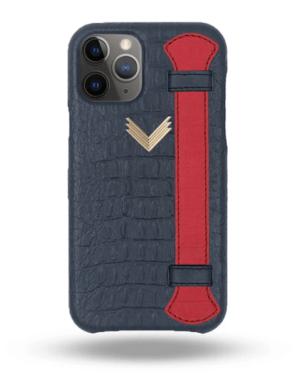 Husa iPhone 11 Pro Max Piele Embosata Aligator Strap DEEP ULTRAMARINE-RED