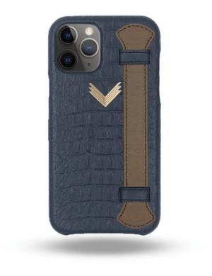 Husa iPhone 11 Pro Max Piele Embosata Aligator Strap DEEP ULTRAMARINE-TERRE