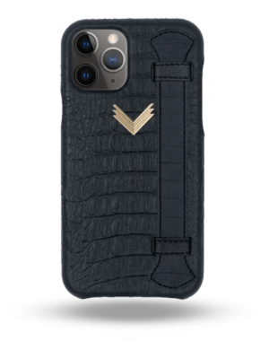 Husa iPhone 11 Pro Max Piele Embosata Aligator Strap MYSTERY BLACK-BLACK