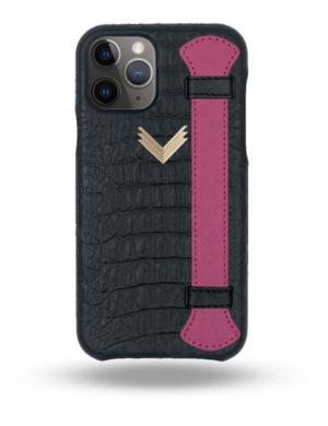 Husa iPhone 11 Pro Max Piele Embosata Aligator Strap MYSTERY BLACK-FUCHSIA