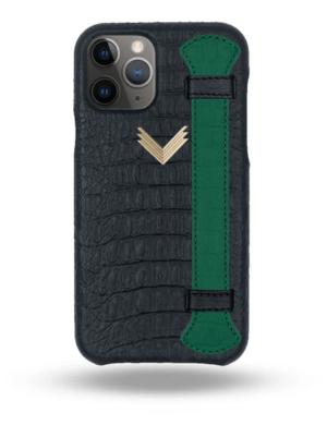 Husa iPhone 11 Pro Max Piele Embosata Aligator Strap MYSTERY BLACK-GREEN