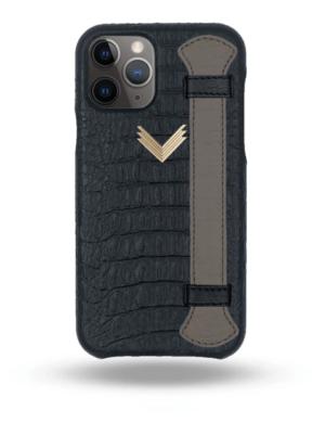 Husa iPhone 11 Pro Max Piele Embosata Aligator Strap MYSTERY BLACK-GREY