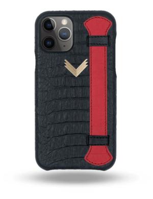 Husa iPhone 11 Pro Max Piele Embosata Aligator Strap MYSTERY BLACK-RED