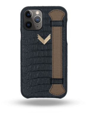 Husa iPhone 11 Pro Max Piele Embosata Aligator Strap MYSTERY BLACK-TERRE