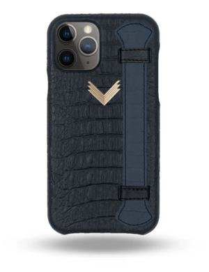 Husa iPhone 11 Pro Max Piele Embosata Aligator Strap MYSTERY BLACK-ULTRAMARINE